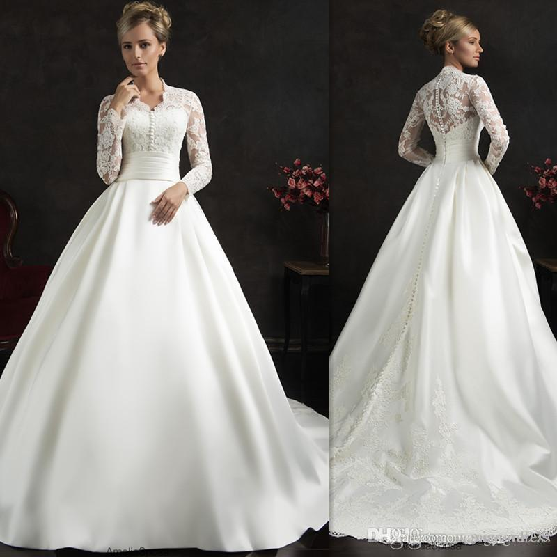 Elegant White Amelia Sposa Wedding Dresses Appliques Lace Long Sleeves Wedding Gowns Sweep Train Ball Gown Bridal Dress Custom Made
