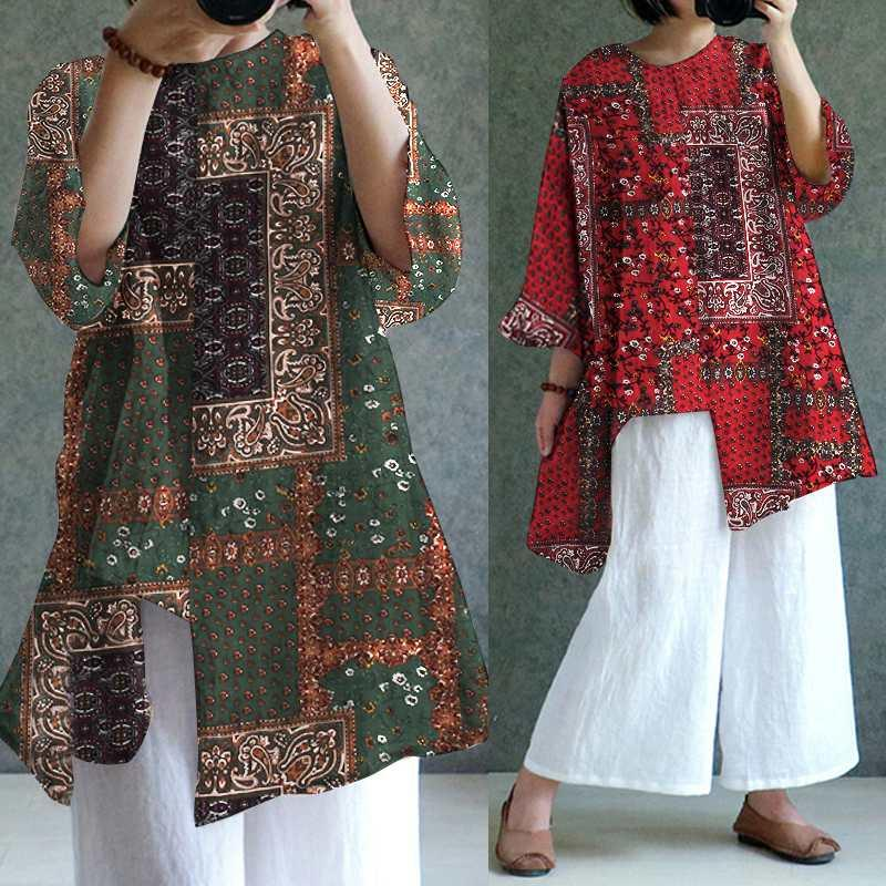 722b555fecf7b 2019 Celmia Plus Size Women Blouse Summer Vintage Printed Shirts Tunic Tops  Casual Loose Asymmetrical Hem Long Blusas Femininas 2019 From  Shoppingparty