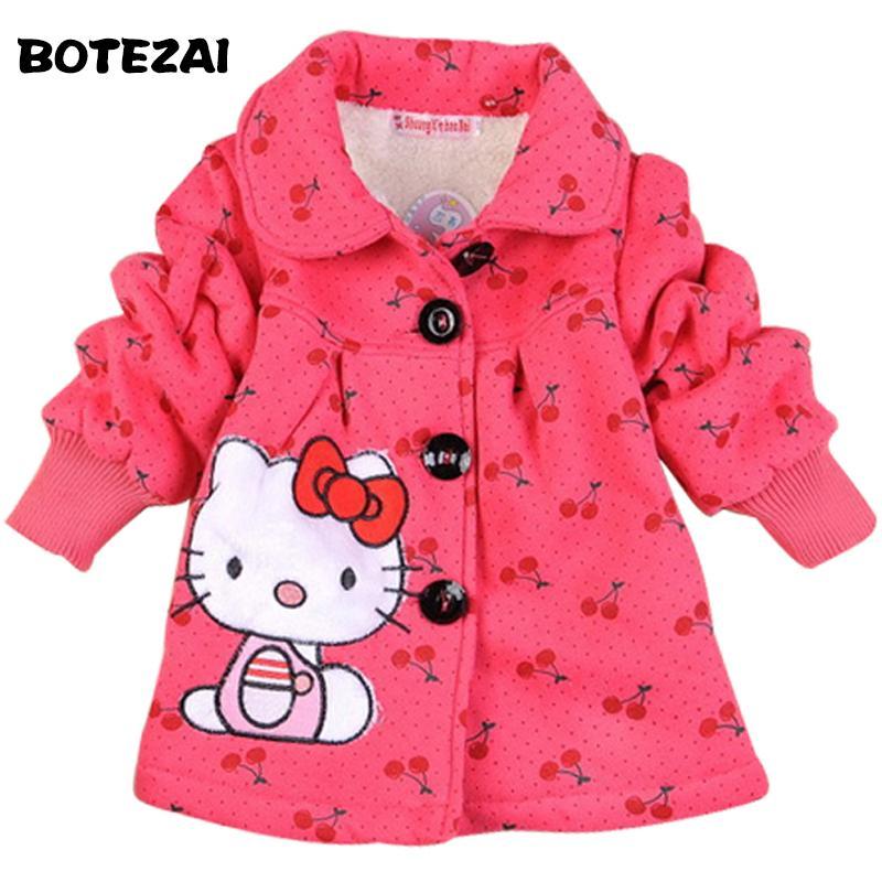 24684f8e0 2017 Fashion Children'S Coats Girls Hello Kitty Winter Warm Coat Children  Cotton Jacket Thick Cotton Padded Clothes Kids Puffer Jackets Kids Spring  Jackets ...
