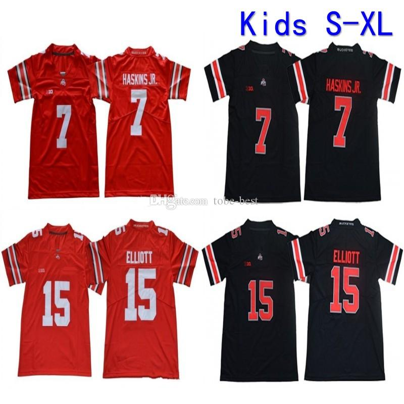 low priced 86bc4 6e606 2019 Youth Ohio State Buckeyes College Football Jersey Home Red Kids 15  Ezekiel Elliott 7 Dwayne Haskins Jr. Stitched Football Shirts S-XL