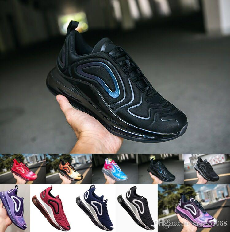 Nike Air Max 720 Hombres y mujeres nuevos negros claros púrpura primavera y otoño moda juvenil zapatos al aire libre Eur 36 45