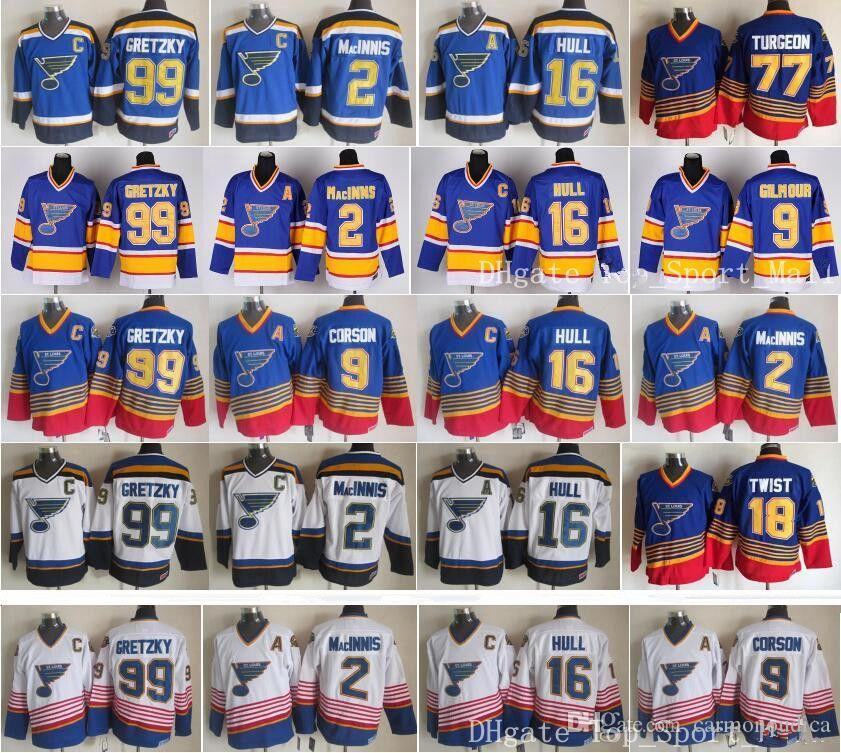 3135f9a3 St Louis Blues Jerseys Ice Hockey Vintage 16 Brett Hull 99 Wayne ...