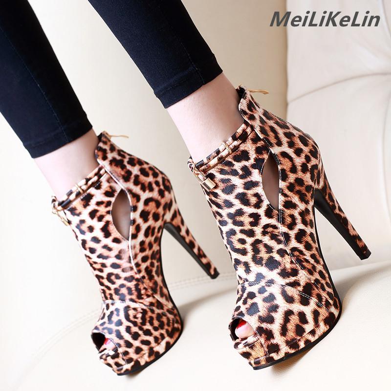 38a78206cb Compre Batida De Rua Leopardo Grão Botas Para As Mulheres Sapatos De  Plataforma De Alta Cura Botas De Tornozelo Botas De Salto Fino Toe Ankle  Boots Mulheres ...
