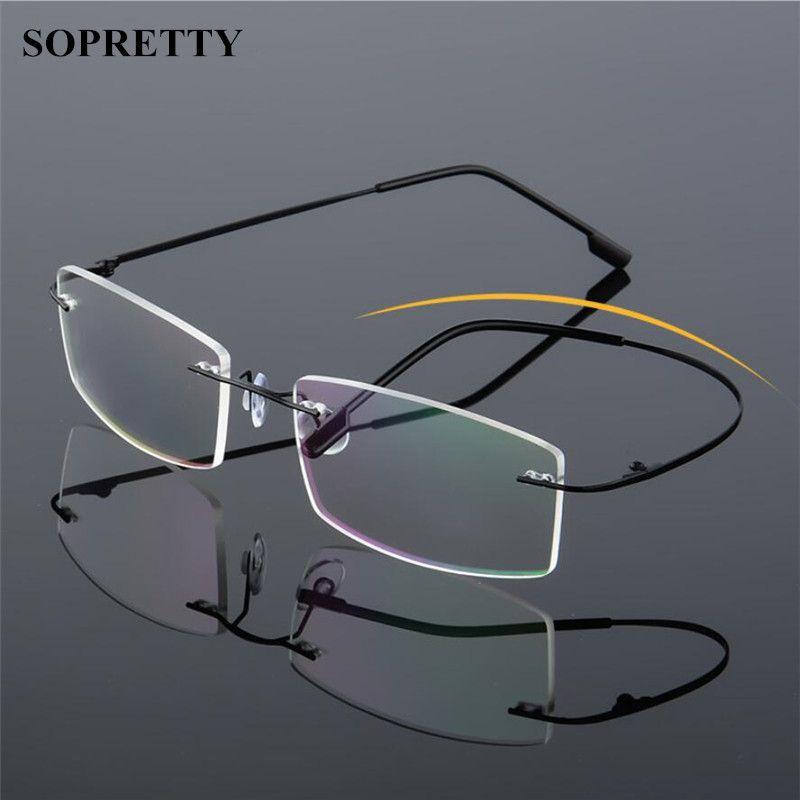 72675e56f13 2019 Classic Mens Titanium Rimless Glasses Frames