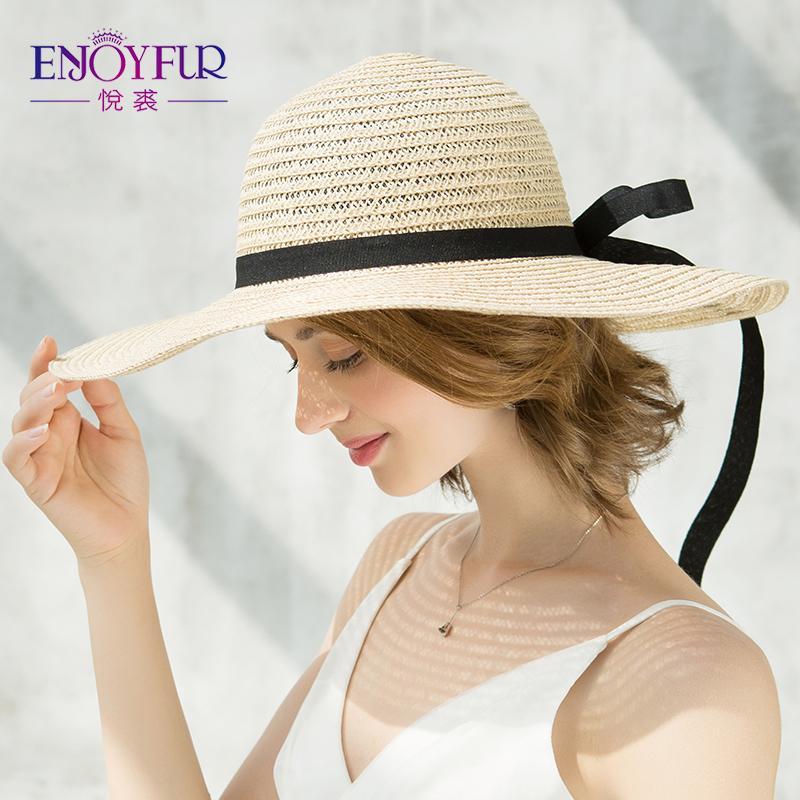 328f608b093 ENJOYFUR Straw Hat For Summer Women's Sun Caps Foldable Beach Caps For  Girls High Quality Bowknot Women Hats Wide Brim