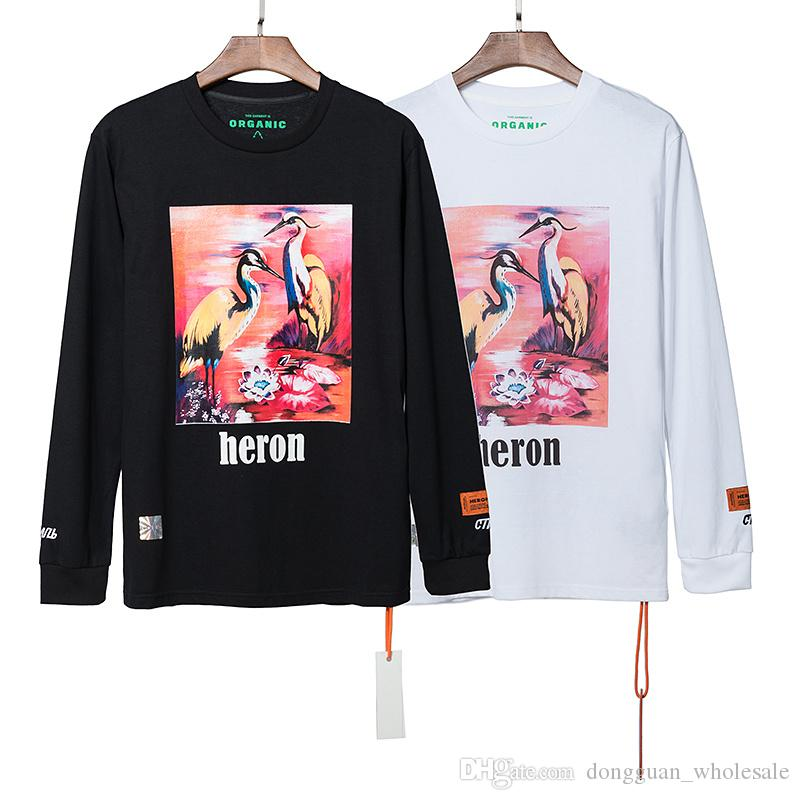 Best Version Heron Preston Donna Uomo Pink Heron Magliette stampate T-shirt Hiphop off T-shirt a maniche lunghe in cotone oversize bianco