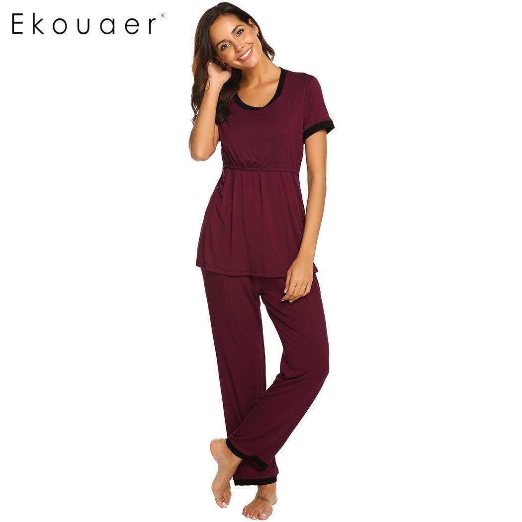 07bbddf4122a3 2019 Ekouaer Pajamas Sets Nightwear Women Casual O Neck Short Sleeve Maternity  Nursing Double Layered Home Sleepwear Pajamas Set From Huayama