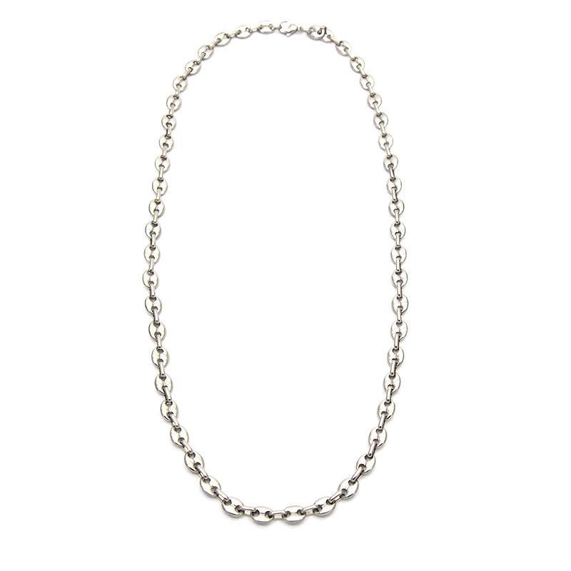 2019 faddish brother gift wholesale stainless steel necklace silver color classic simpte for men jewelry wide is 7mm NB6041