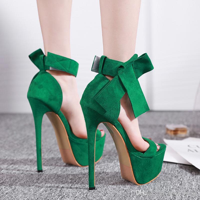 16см роскошный галстук-бабочка лодыжки платформу ультра высокие каблуки женщина дизайнер сандалии на высоком каблуке размер 34 до 40