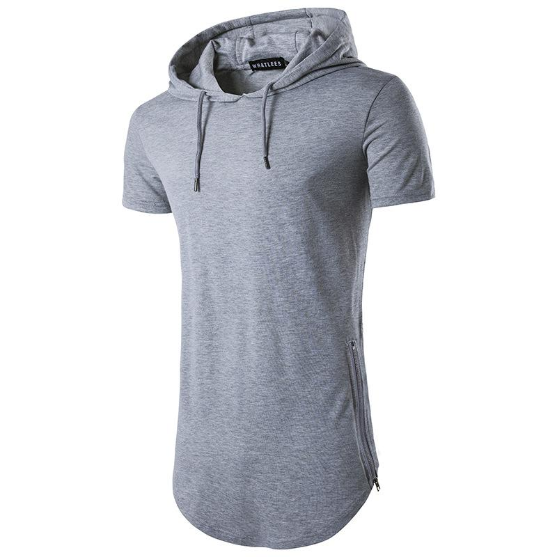 2019 Summer men tshirt hooded Casual Collar Tops Tees Short Sleeve T-Shirt Homme Slim Elastic Hood Design Male T shirt Cotton