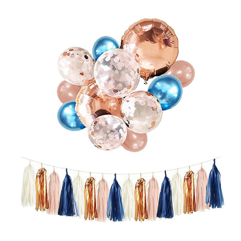 2019 Navy Blush And Rose Gold Balloons 12inch Metal Blue Confetti Balloon Bouquet Bundle Fall Autumn Wedding Birthday Decor From Magicalparty