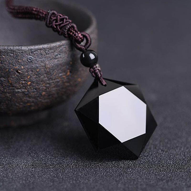 72d09422b8531 Black Obsidian Hexagram Necklace Star of RongDe Pendant Lucky Love Natural  Stone Women Men Couple Necklace Judaism Jewelry