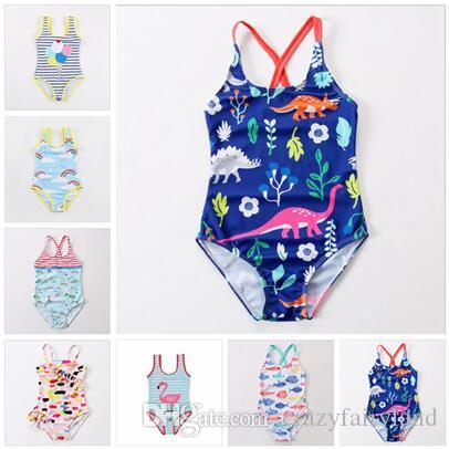 1752a4699fb78 One Pieces Baby Girl Clothes Gifts Kids Designer Clothes Dinosaur Flamingo  Kids Rainbow Stripe Baby Girl Bathing Suit Girls Swimwear Kids Designer  Clothes ...