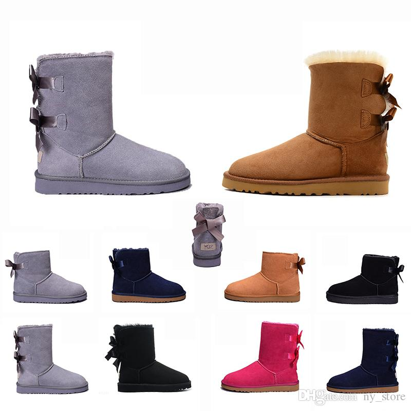 UGG BOOTS uggs 2020 Bow-knot WGG Womens Australia Classic tall half Boots Bow Women girl boots Boot Snow Winter black blue ankle boots leather shoes 36-41