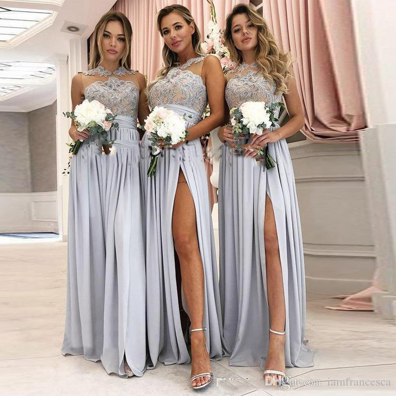 11d1ee06d15 Vintage Lace Appliqued Silver Bridesmaid Dresses A Line Split 2019 Sheer  Neck Jewel Floor Length Country Bohemian Junior Wedding Party Gowns Printed  ...