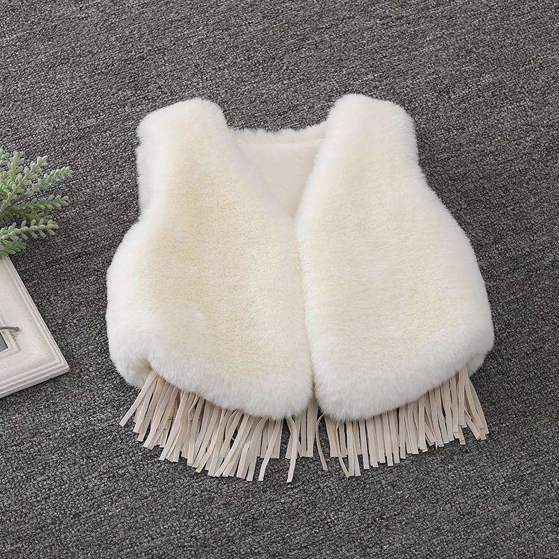 2019 New Winter Fashion Baby Girls Fur Outerwear Thicken Warm Vest V-neck Faux Fur Colorful Vest Children Clothing Costume Vw029