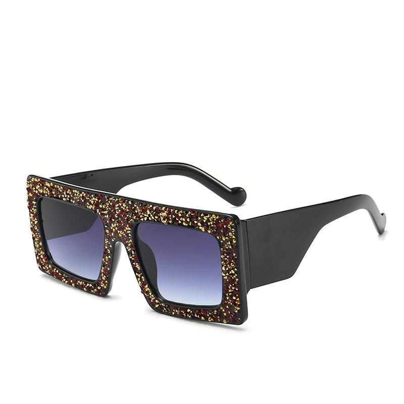 Oversized Square Sunglasses Women 2019 Fashion Flat Top Red Black Clear Lens Men Gafas Shade Mirror UV400 Glitter Bling Frame Sunglasses
