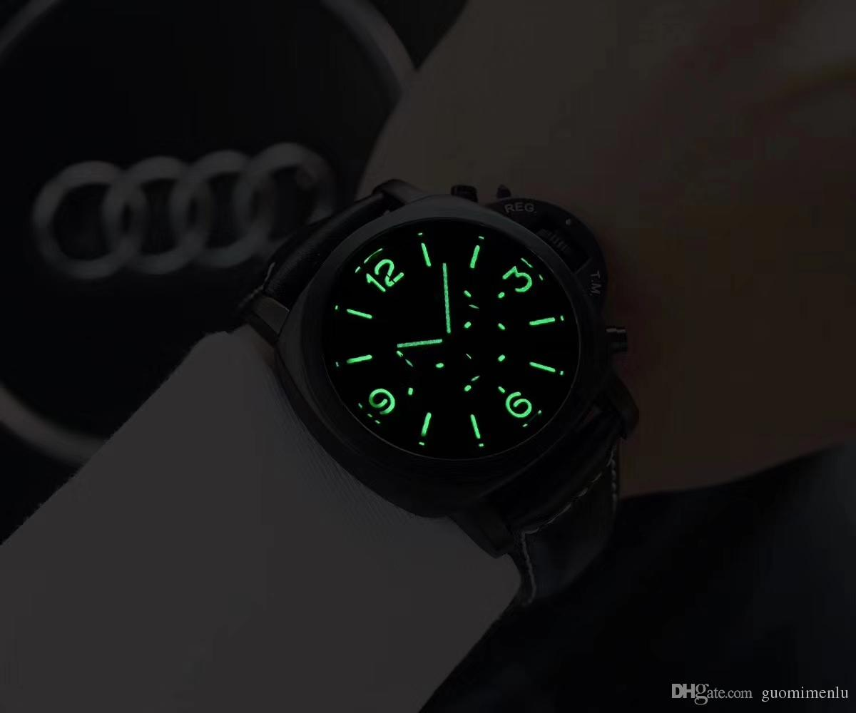 TOP Fashion stainless Steel Quartz Man Leather watch Japan Movement watch Luminous Wristwatches Life Waterproof Brand male clock Hot Items