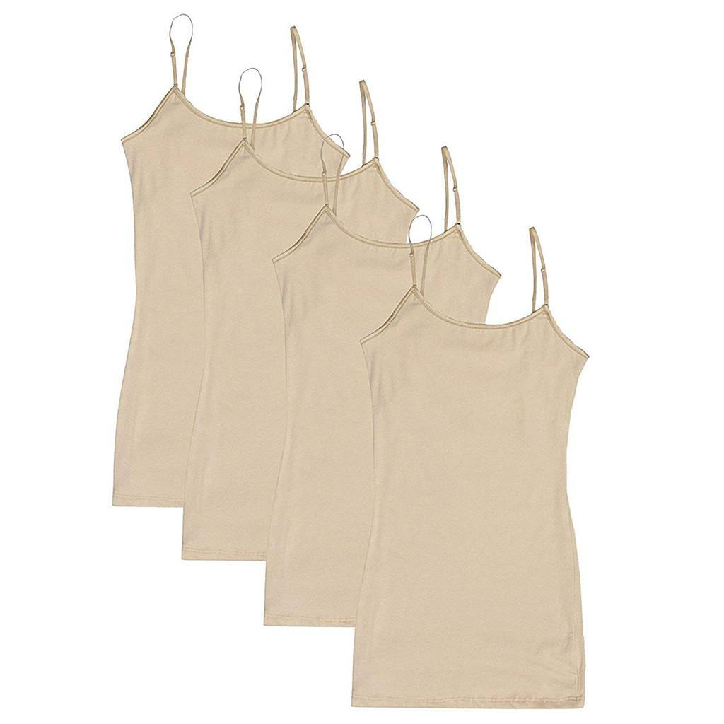 4PC Beige Adjustable Shoulder Strap Vest Women Solid Color Wild Sleeveless Shirt Blouse Casual Basic Seamless Tank Top #Y15