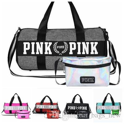 b630a9d3397c set Women Travel Bags Love Pink Handbags Large Capacity Bags Striped ...