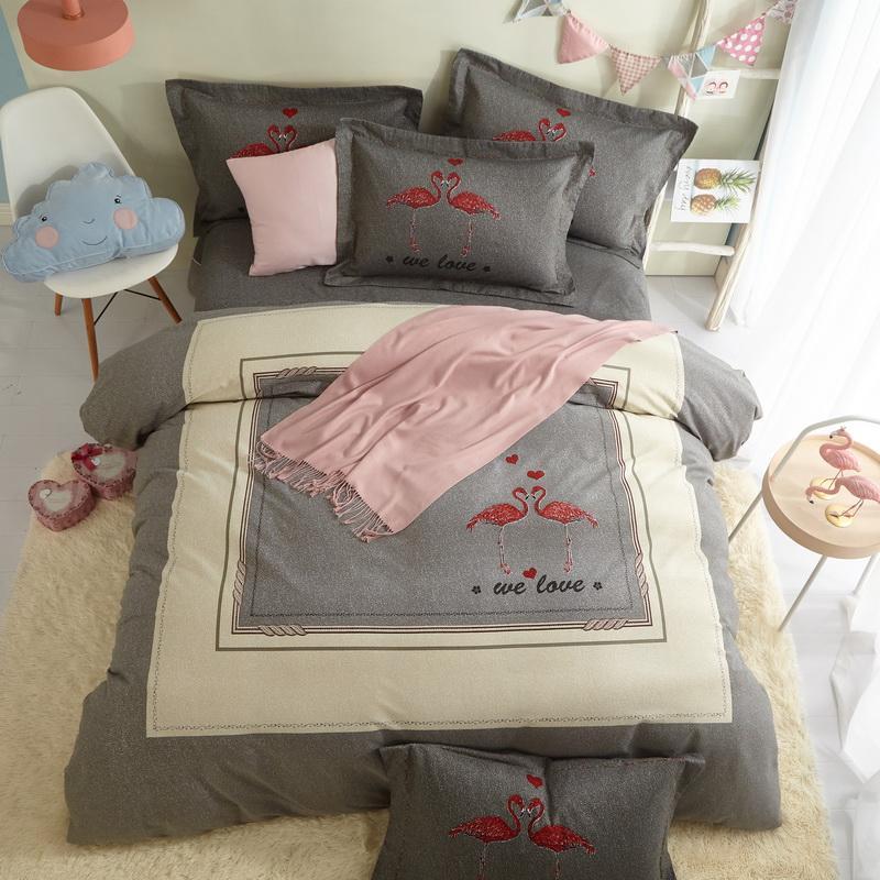 Acquista Biancheria Da Letto Flamingo Set Queen King Size Lenzuola ...
