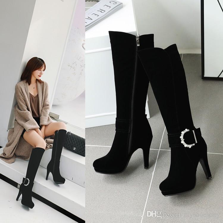 Pus tamaño 33 a 42 43 de la rodilla botas altas diseñador atractivas con hebilla de tacón alto zapatos de invierno 10cm