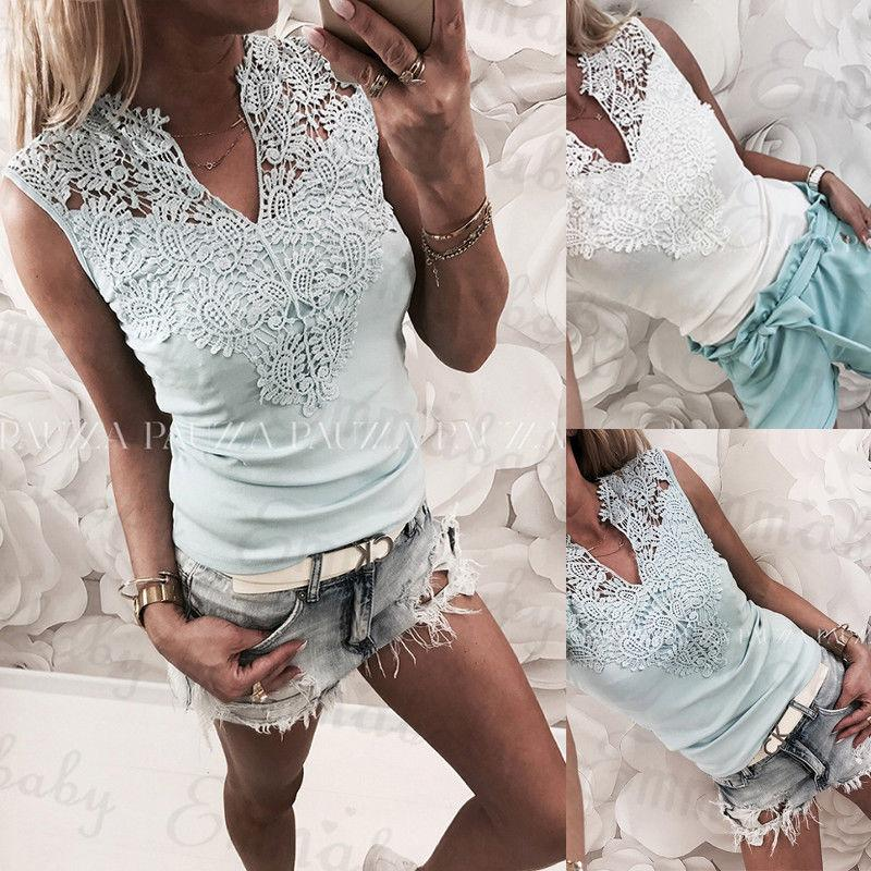 5605f9a4a4 Women Sleeveless Summer Vest Top T Shirt Casual Floral Lace Clothes V Neck  Tees T-shirt 2019 New Fashion Online with  28.76 Piece on Stephanie06 s  Store ...