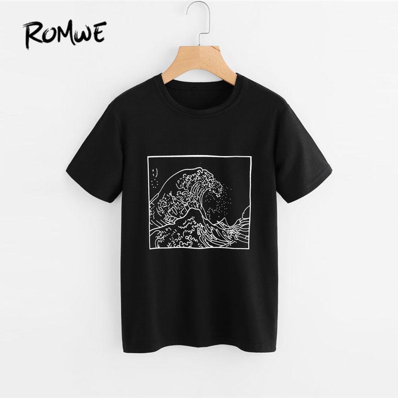 f1c1a8b37216d Romwe Graphic Print Loose T Shirt Femmes Noir Col Rond Manches Courtes Été  Coréen Tops 2018 Mode Ulzzang Tee Shirt Y190123