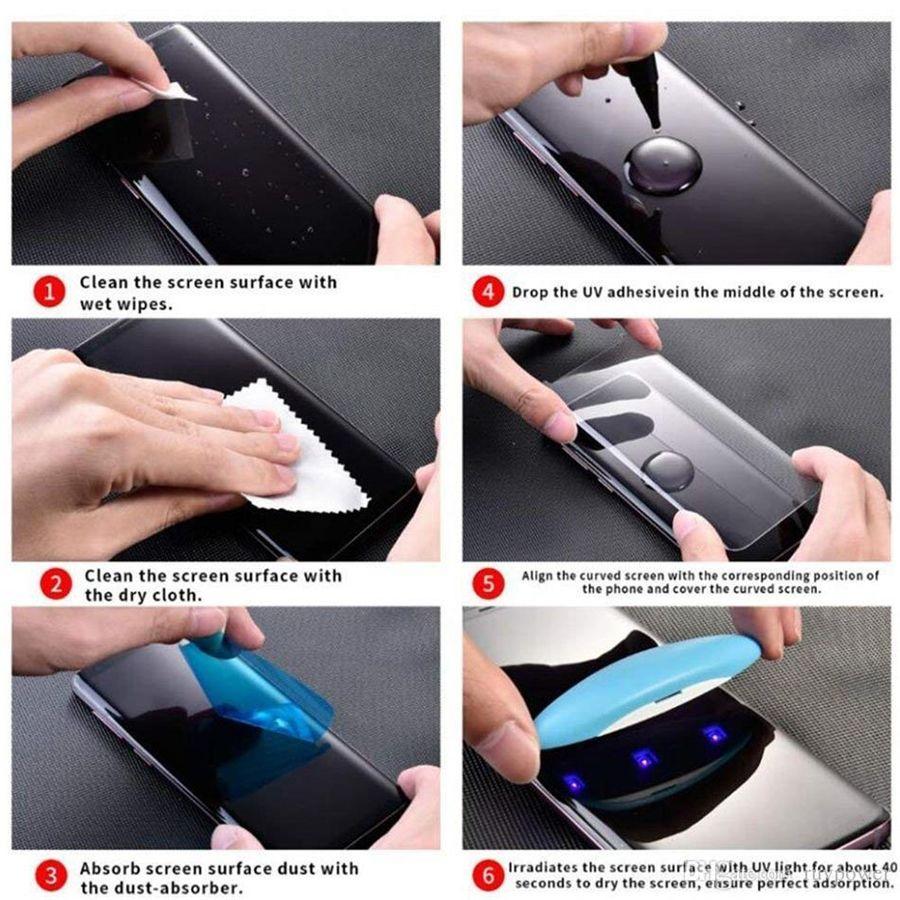 Vidro temperado UV para iPhone 11 Pro XS Max Samsung Galaxy S20 Ultra S10 Nota 9 8 S8 S9 Plus Completo Líquido Cola