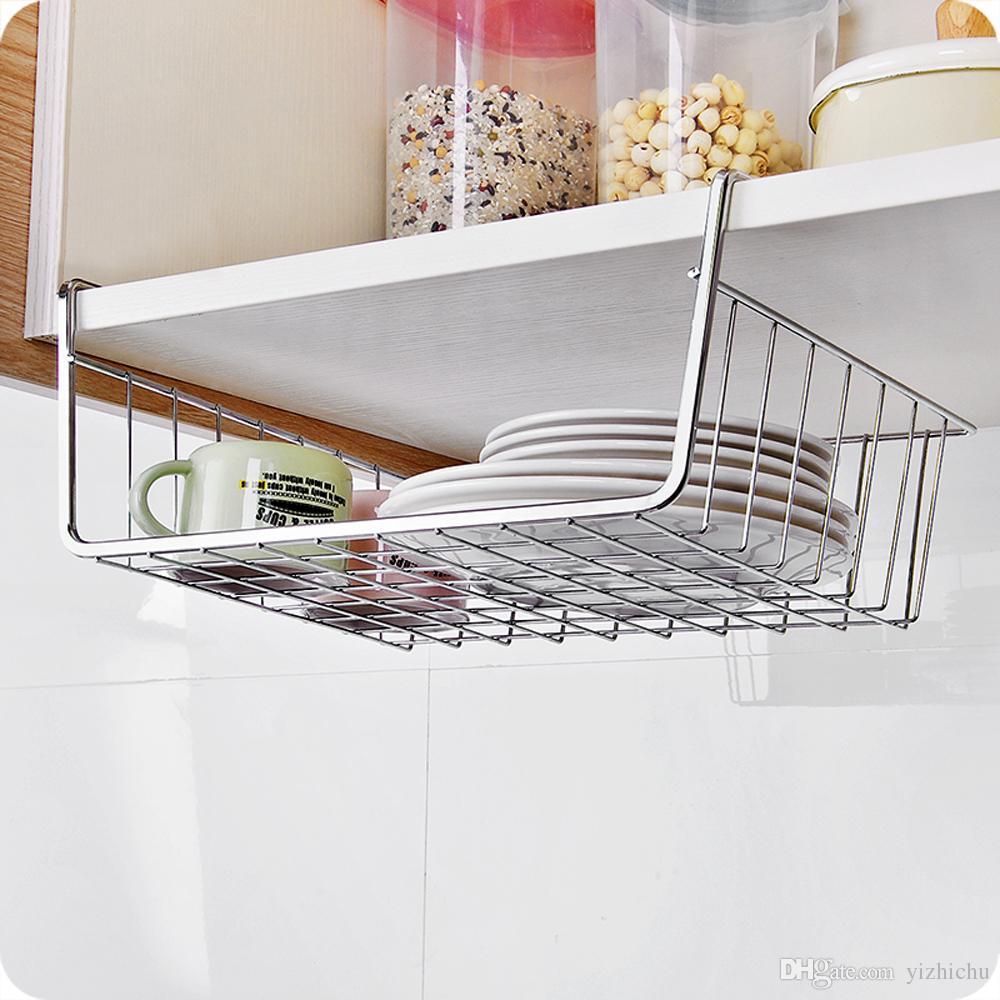 2019 Under Cabinet Hanging Storage Shelf Wire Basket ...
