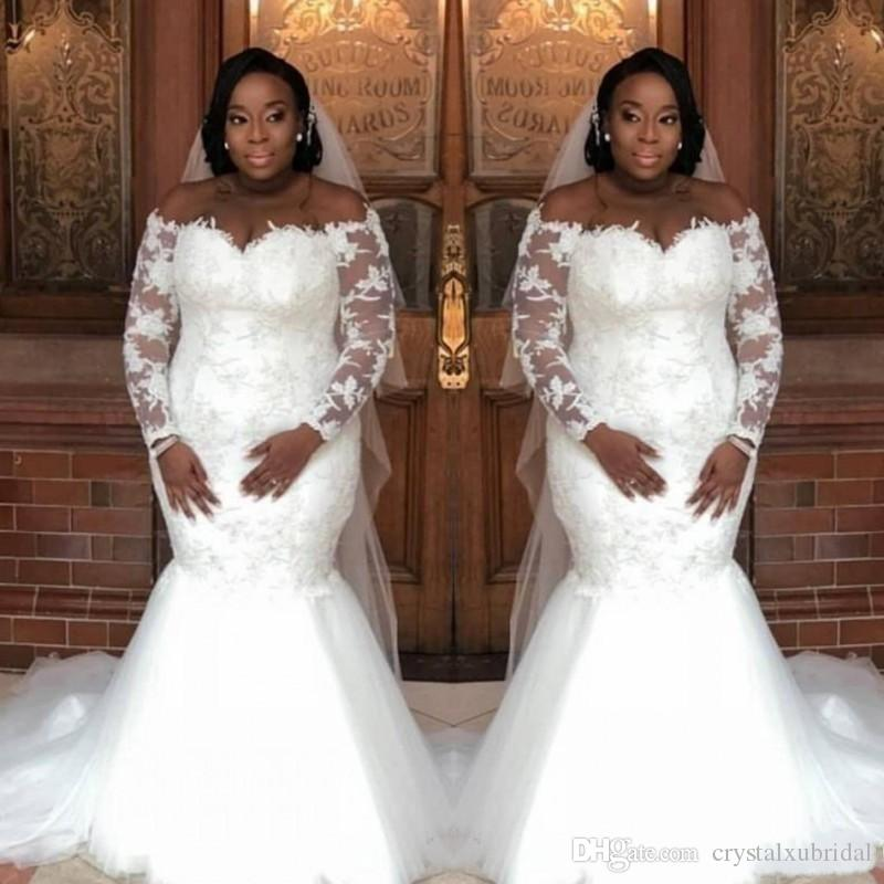 2a97be00a3b53 2019 New African Mermaid Wedding Dresses Sheer Long Sleeves Tulle Lace  Appliques Off Shoulder Sweep Train Sexy Illusion Formal Bridal Gowns  Wedding Dress ...