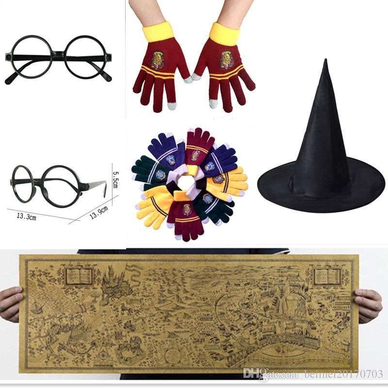 Harry Potter Magic World Map Kraftpapier Cosplay-Brillen College-Handschuhe  Gryffindor Touchscreen-Halskette Wizard