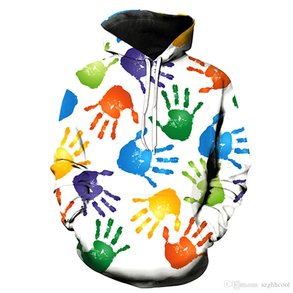Autumn and Winter New DIY Colorful Hand printed Long Sleeve Hoodies Euro Size Mens 2019 Luxury Designer Casual Hipsters Men Hoodies