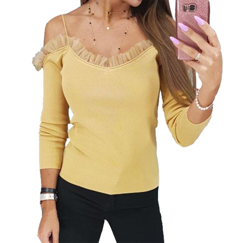 986d48e6ba066 Women Sexy Off Shoulder Tops New Slim T Shirts Femme Long Sleeve Casual  Tees Solid T Shirts Lace Sling Plus Size Elastic M0093 Cool T Shirt Buy  Shirts ...