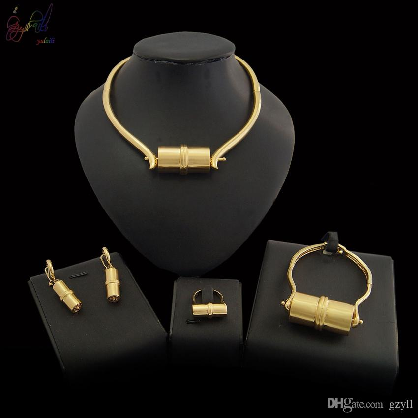 Yulaili 2019 Free Shipping Round Design Ladies Costume Excellent Polishing Pure Gold Color Jewelry Set Free Gift Box