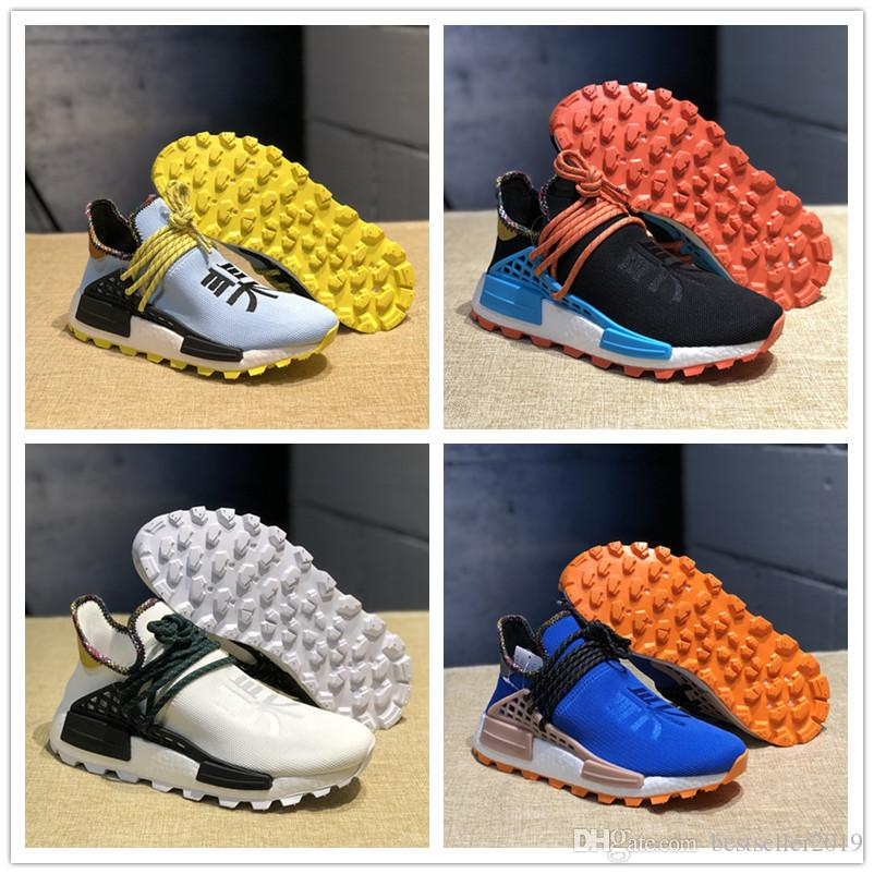 buy online 6ebb9 449a7 2019 New Human Race PW Running Shoes Pharrell Williams Hu Inspiration Trial  Designer Solar Clear Sky Human Races Women Mens Sneakers 36-45