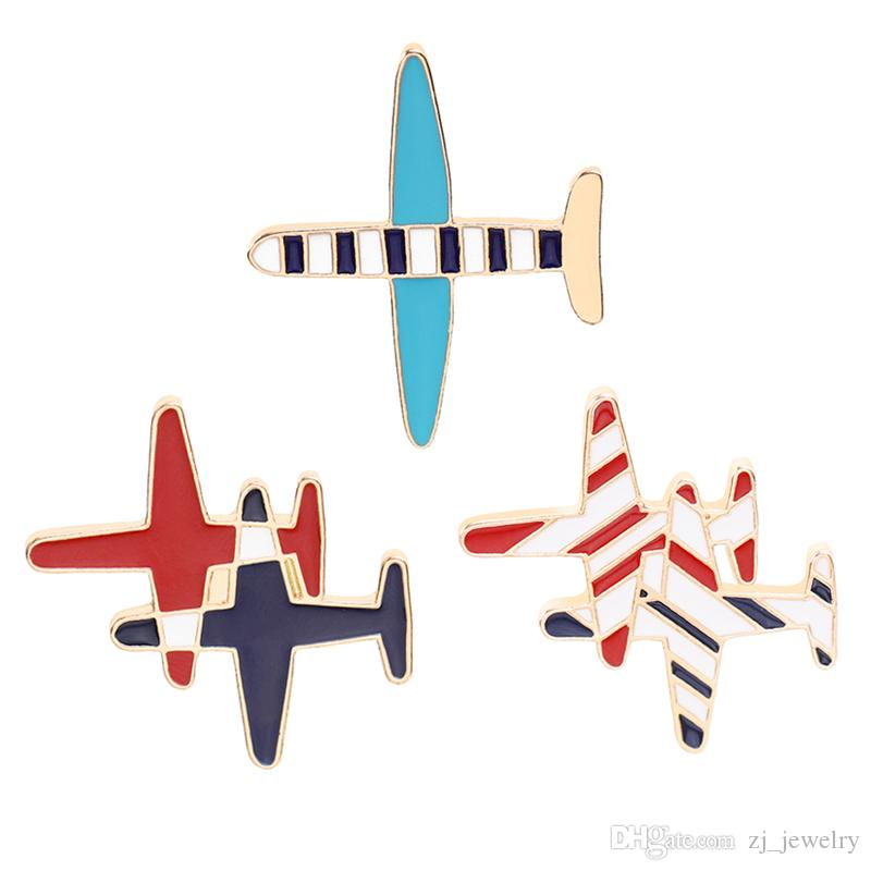 7a06e7e16d cute plane pin brooches metal strip airplane enamel pin Badge button Denim  Jackets pin jeans jewelry accessory