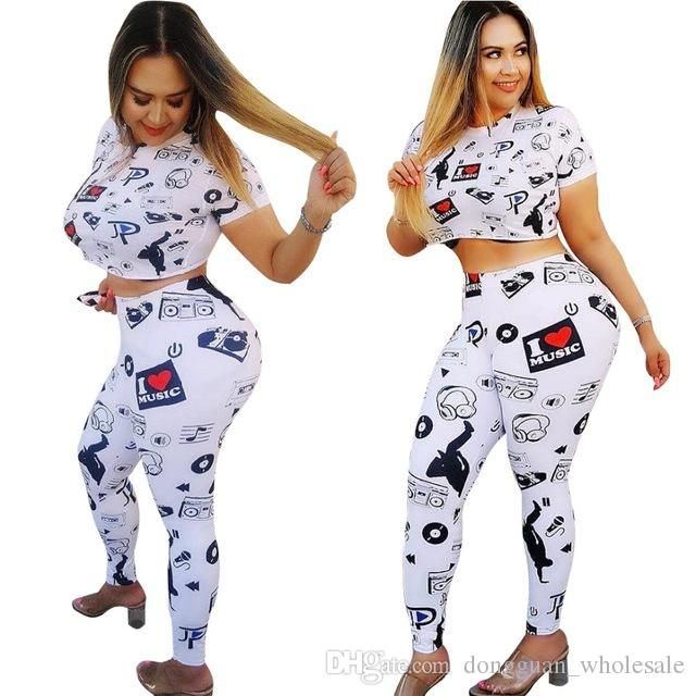 36cebc5c332c Cartoon Printed Casual Outfits Women Short Sleeve Crop Top And ...