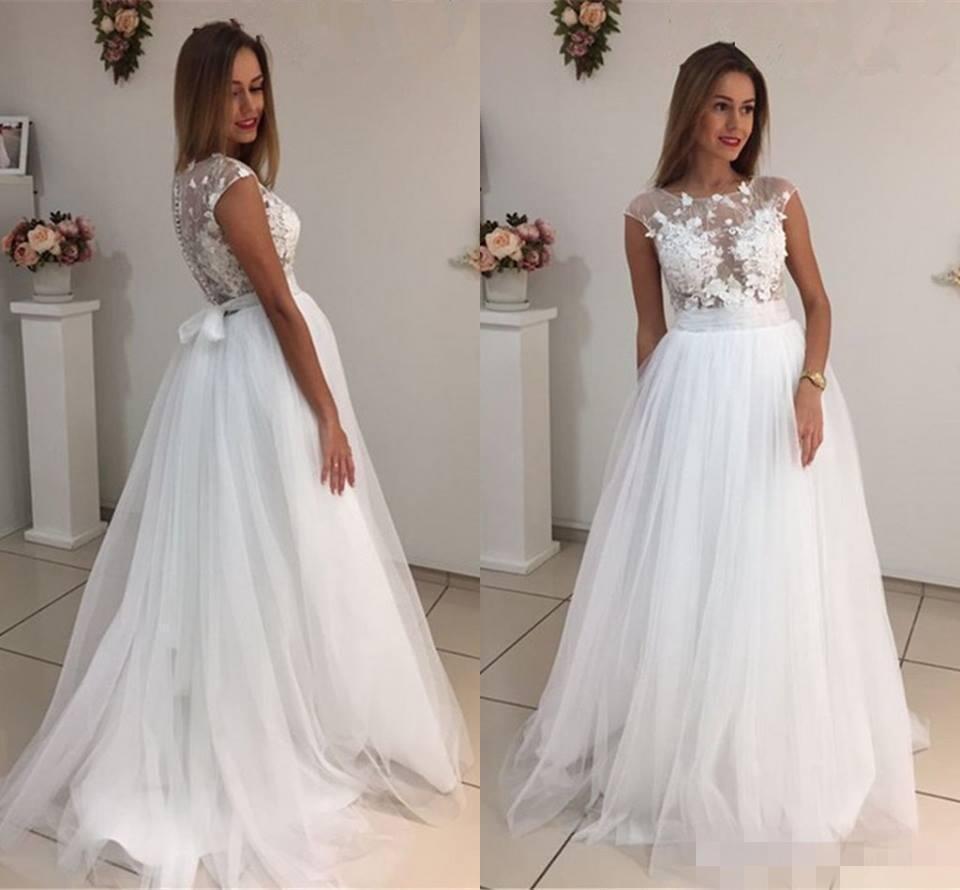 4e76cadf55db1 2019 Elegant Crew Neck Cap Sleeves White Wedding Dresses A Line Tulle  Appliques Lace Cheap Wedding Bridal Gowns Plus Size Wedding Dress Bridal  Wedding Dress ...