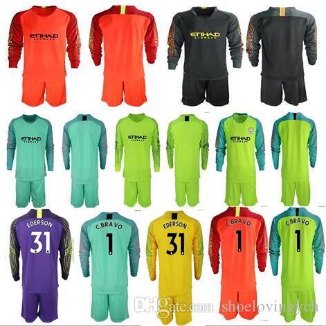 Compre 2018 19 Camisetas De Fútbol Equipo De Portero GK Camiseta Hombre   1  C.BRAVO EDERSON   31 Uniformes De Portero Ciudad De Fútbol KUN AGUERO Para  El ... 10e52d9e4f283