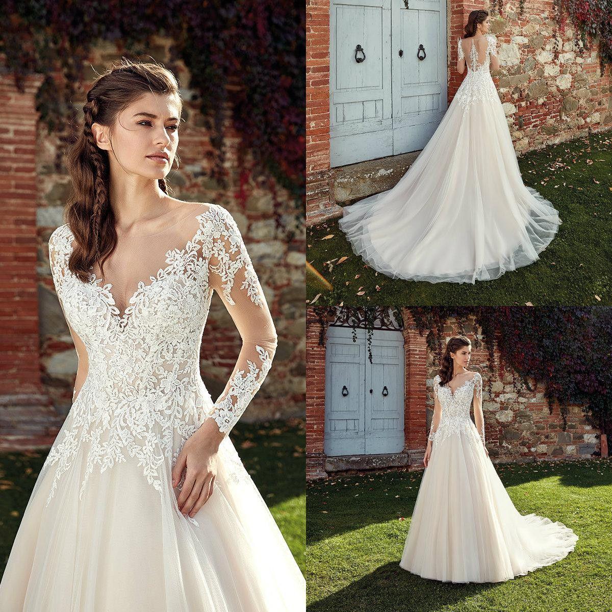 8594e36bb42d5 Discount Eddy K 2019 Wedding Dresses Jewel Neck Long Sleeves Lace Appliques Bridal  Gowns Sweep Train Boho A Line Wedding Dress Robe De Mariee Second Hand ...