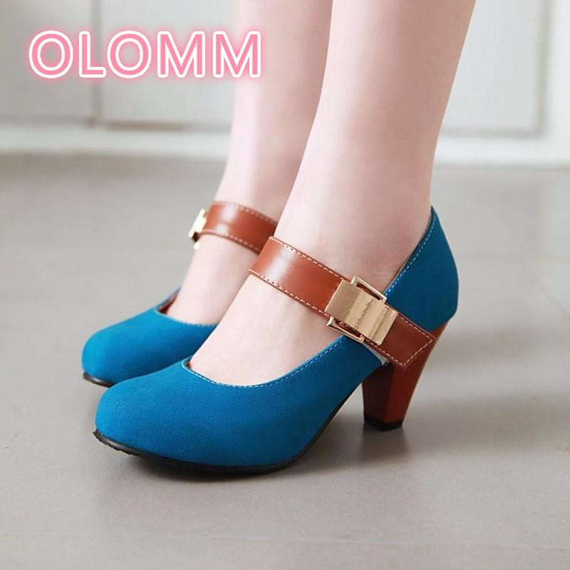 2019 Spring round head high heels professional fashion shoe round head thick heel