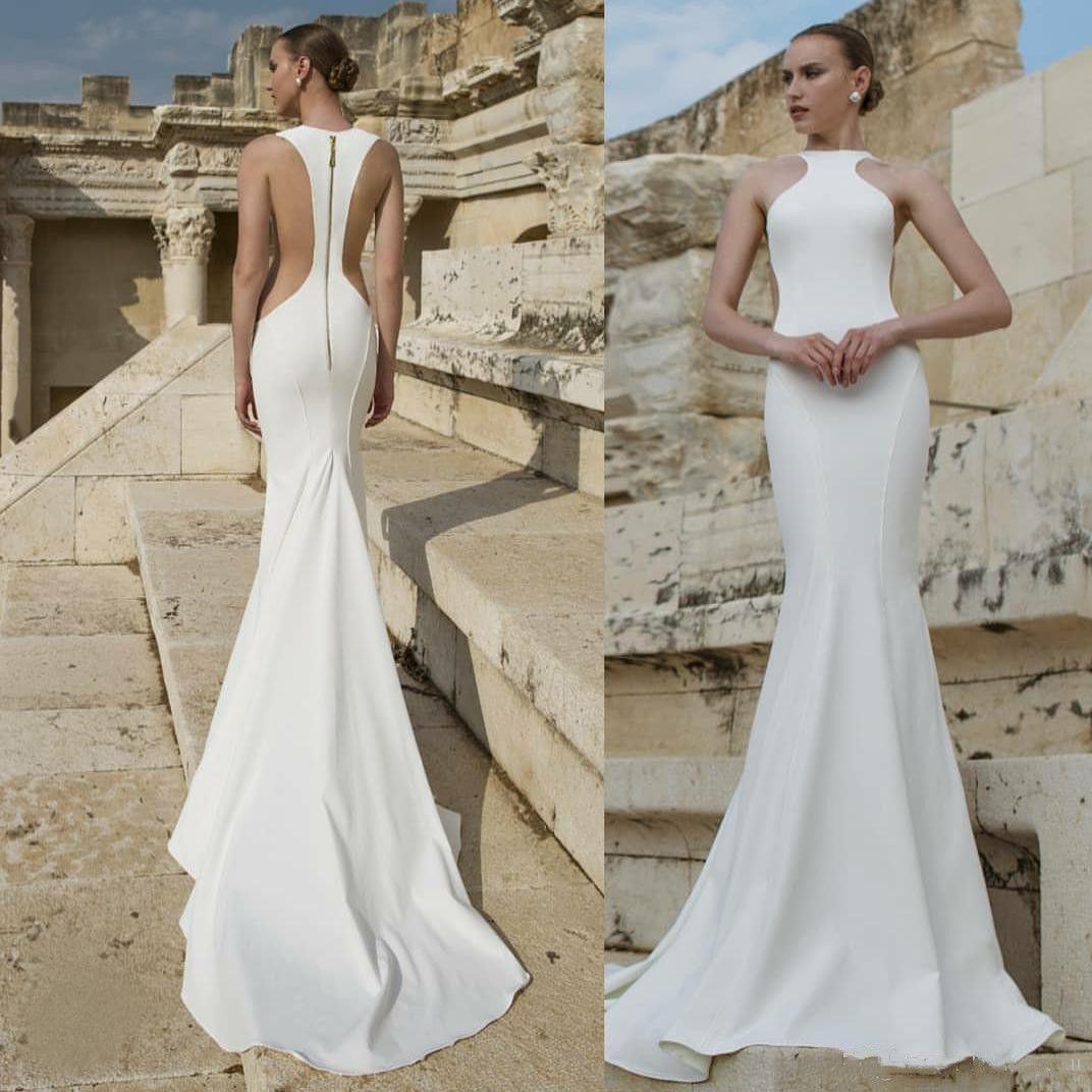 4888d73a07 Designer Sexy Mermaid Wedding Dresses Long Lian Rokman 2019 Jewel Neck Cut  Side Zipper Back Simple Satin Bridal Gowns Cheap Vestido De Novia Mermaid  Dress ...
