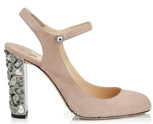 54096dddad0 2019 Nude Black Faux Suede High Heels Sandals Studded Crystal Block Heels  Women Shoes Ankle Strap Slingback Women Pumps