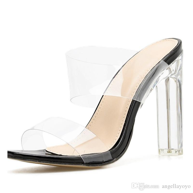 57b9d4f7e57b SummerNew PVC Jelly Sandals Crystal Open Toed Sexy Thin Heels Crystal Women  Transparent Heel Sandals Slippers Pumps Sandals Shoes Gladiator Online with  ...