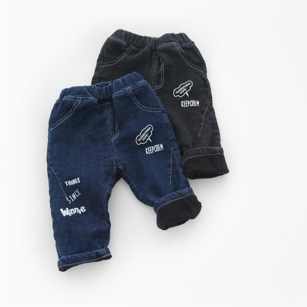 d7b8859e7 Compre WLG Meninos Meninas Inverno Grosso Calça Jeans Crianças Carta  Impressa Denim Azul Preto Calças Quentes Bebê Casual Todos Os Coincidir Com Calça  Jeans ...