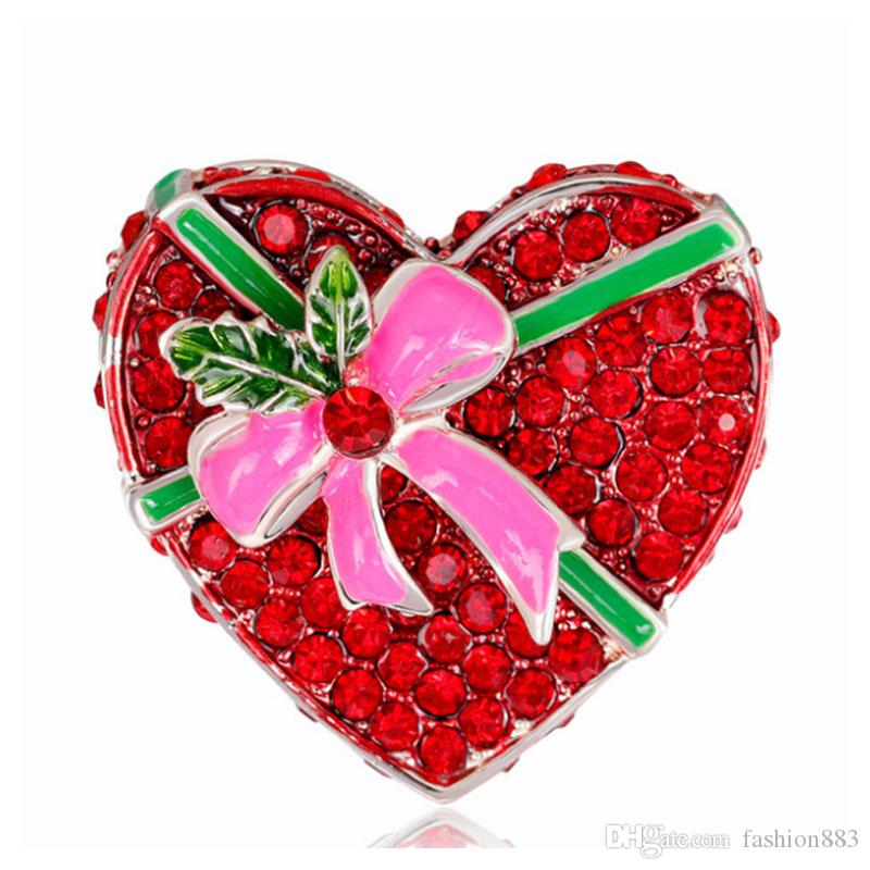 529c28d6d96 Valentine's Day Red Rhinestone Tie Love Heart Shape Brooch Pin ...