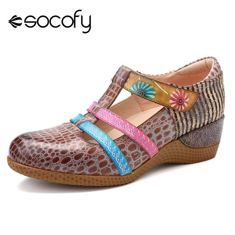 ebf53ec24 SOCOFY Retro Genuine Leather Hollow Out Pattern Hook Loop Sandals Casual  Loafers Soft Sole Woman Vintage Flower Flats Spring New Shoe Sale Shoes Uk  From ...