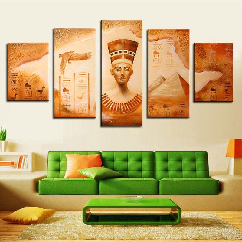 Satın Al El Boyalı Retro Yağlıboya Mısır Firavunu Rakam Boyama Tuval