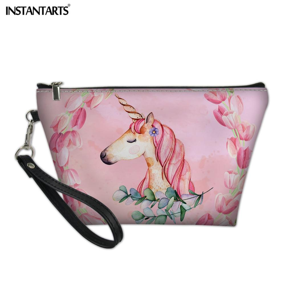 349d2c9e2e69 INSTANTARTS Cute Rainbow Horse Printing Make Up Case Toiletry Handbags  Personalized Customized PU Large Capacity Cosmetic Bags